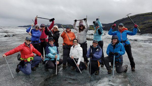 Glacier trekking, Iceland women's adventure.